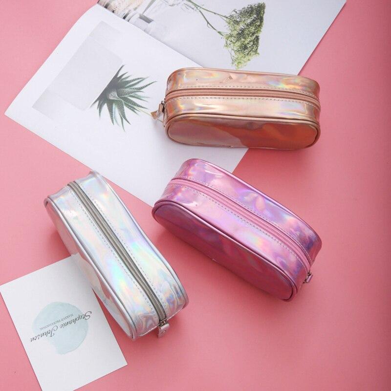 Kawai Laser Holographic Pencil Case for Girl Pencilcase Stationery Storage School Supplies Pencil Box Pencil Bag School Tool