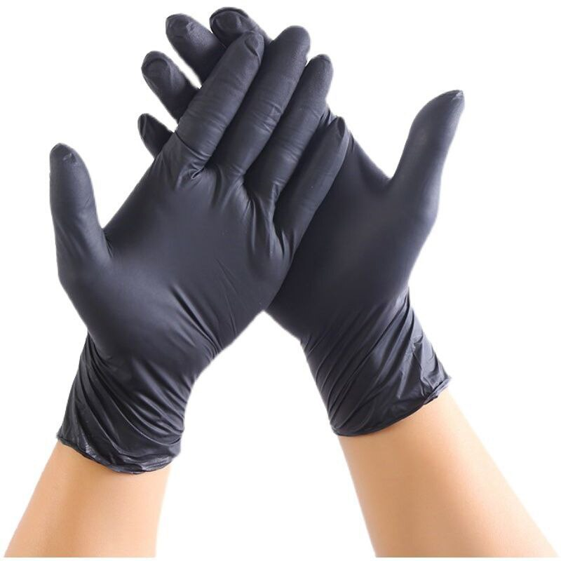 100pcs Disposable Gloves Black Food Cleaning Restaurant Home Work Protective Vinyl Nitrile Blend Gloves Latex-Free Safety