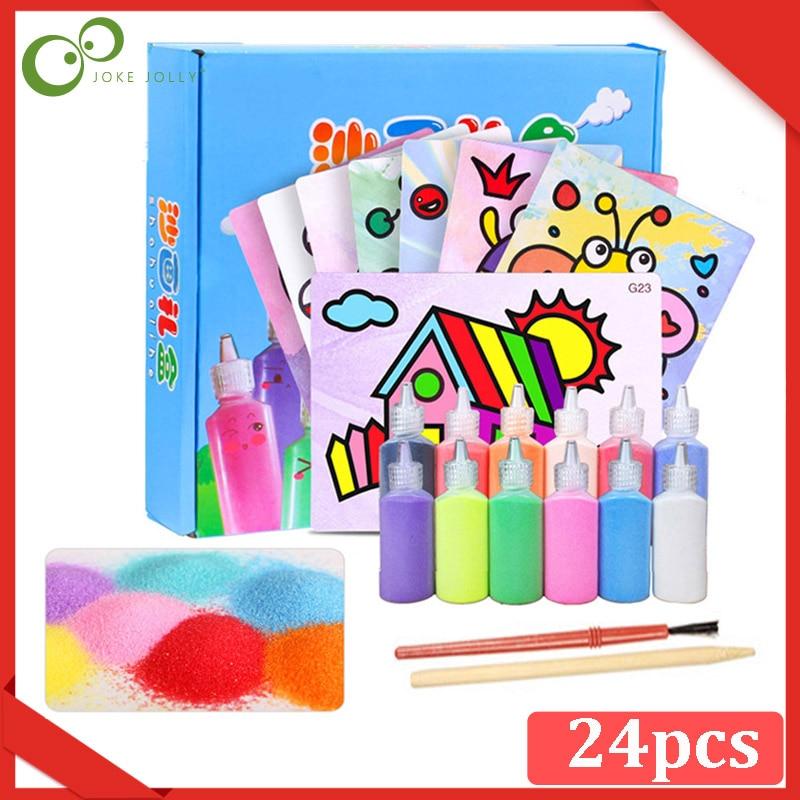 Jouet pour enfants, peinture sur sable, ensembles de planches à dessin, papier photo fait à la main, dessin sur sable, 24 pièces/ensemble, ZXH
