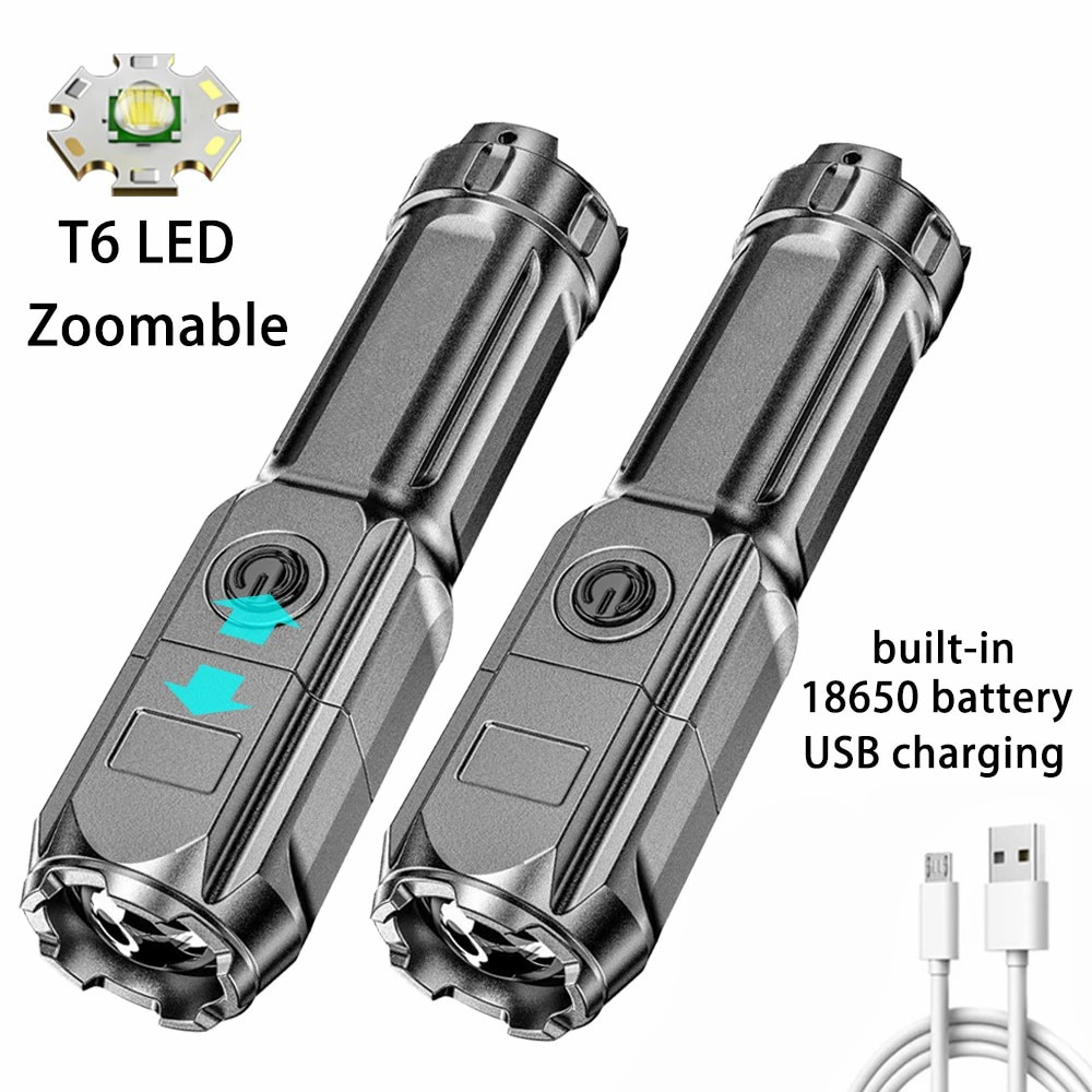 C5 Led Flashlight Super Bright Zoomable USB Rechargeable T6 Tactical Torch Camping Hiking Fishing Outdoor Light Lamp Lantern