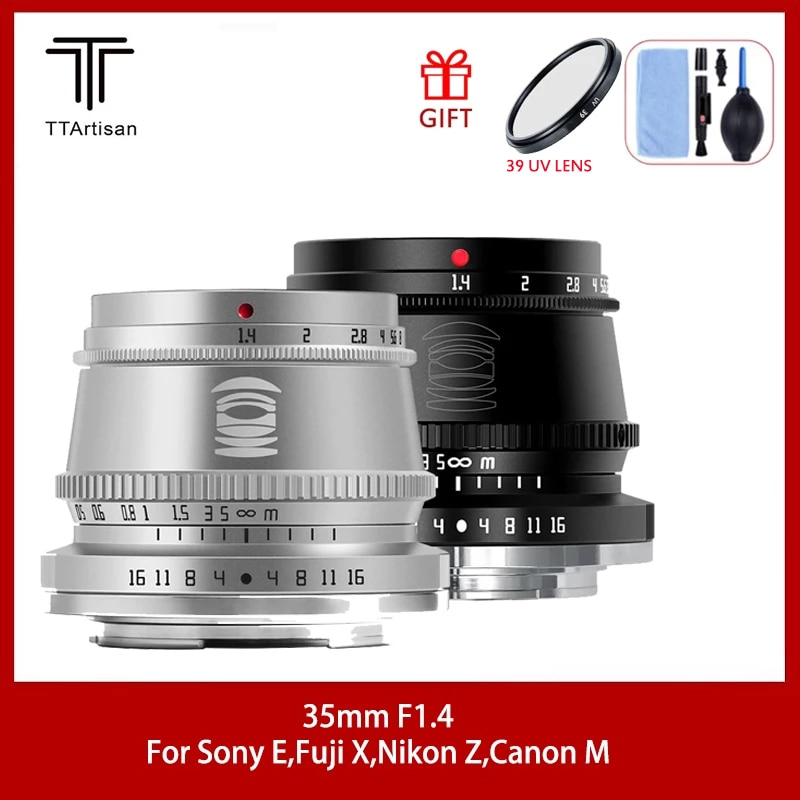 TTArtisan 35mm F1.4 APS-C Lens For SONY E FUJI X Nikon Z Canon M Camera MF Lens For Panasonic Olympus M4/3 Leica L mount Camera
