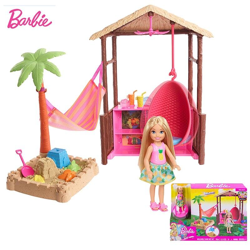 Original muñeca Barbie Chelsea muñecas Tiki Hut Playset casa Barbie juguetes para niñas accesorios para Barbie juguetes para niños regalo