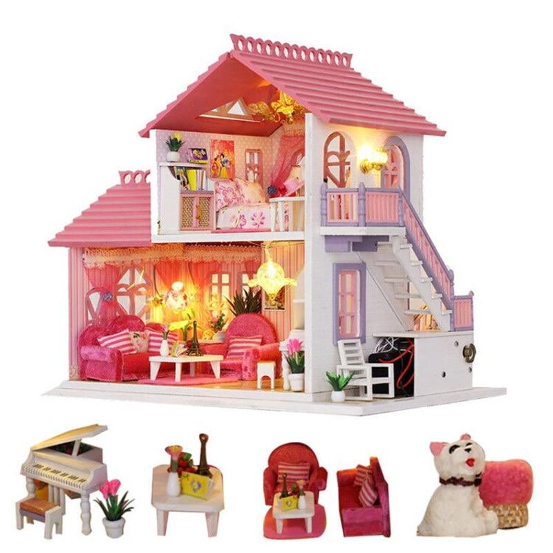 Rosa diy große puppe haus holz puppe häuser zubehör miniatur dollhouse kit holz haus möbel für kinder drewniany