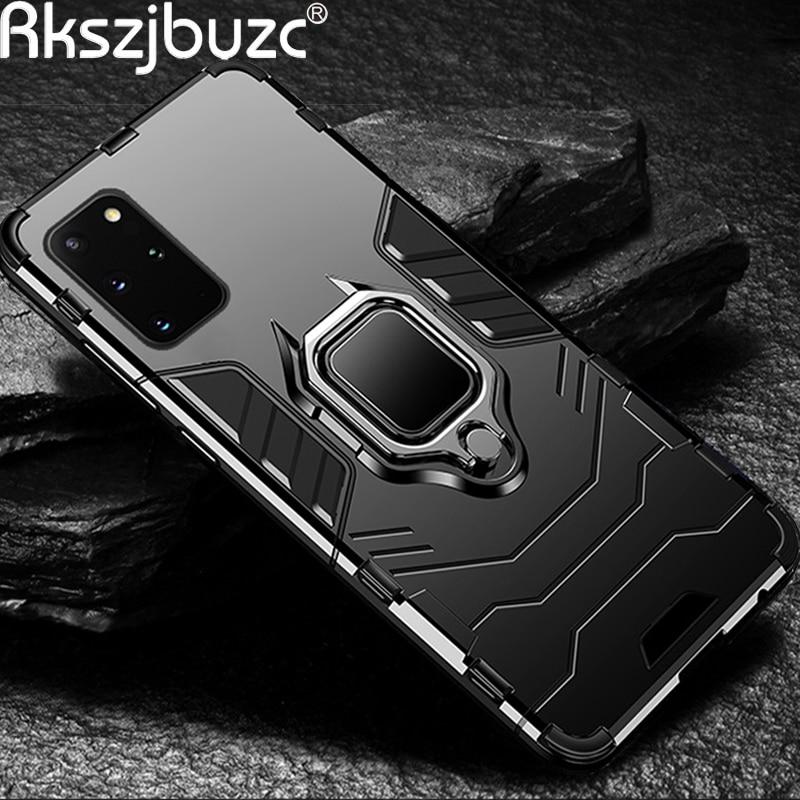 Para samsung galaxy s20 s 20 ultra 5g s20 + mais caso armadura caso caso capa de metal anel titular caso do telefone para samsung a51 a71 a91 capa
