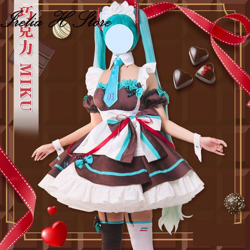 Disfraz de Cosplay Miku VOCALOID 2020, sirvienta de chocolate Hatsune Miku, Lolita, Día de San Valentín, vestido de Cosplay Miku para mujer
