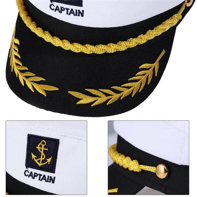 Adult Yacht Boat Ship Sailor Captain Costume Hat Cap Navy Marine Admiral Embroidered Captain'S Cap (White) 8