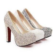 J & K 2019 nouvelle marque talons hauts paillettes chaussures de mariage pompes séquine offre spéciale mode talon épais plate-forme chaussure femme grande taille 32-43