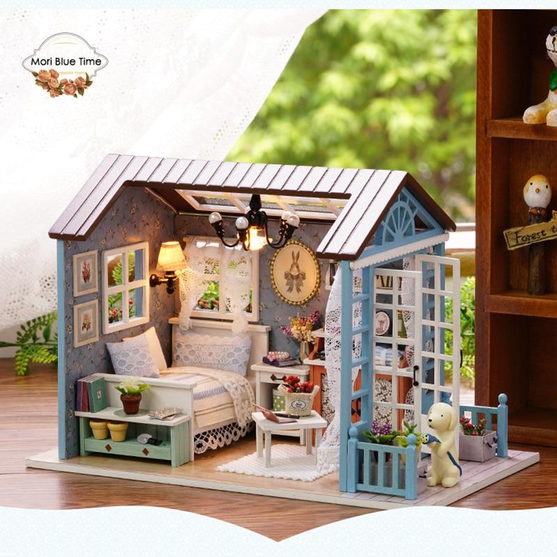 Mini casa caja teatro casa de muñecas De Madera Muebles Diy miniatura 3D casa de muñecas juguetes para niños regalos de cumpleaños mini casa diy