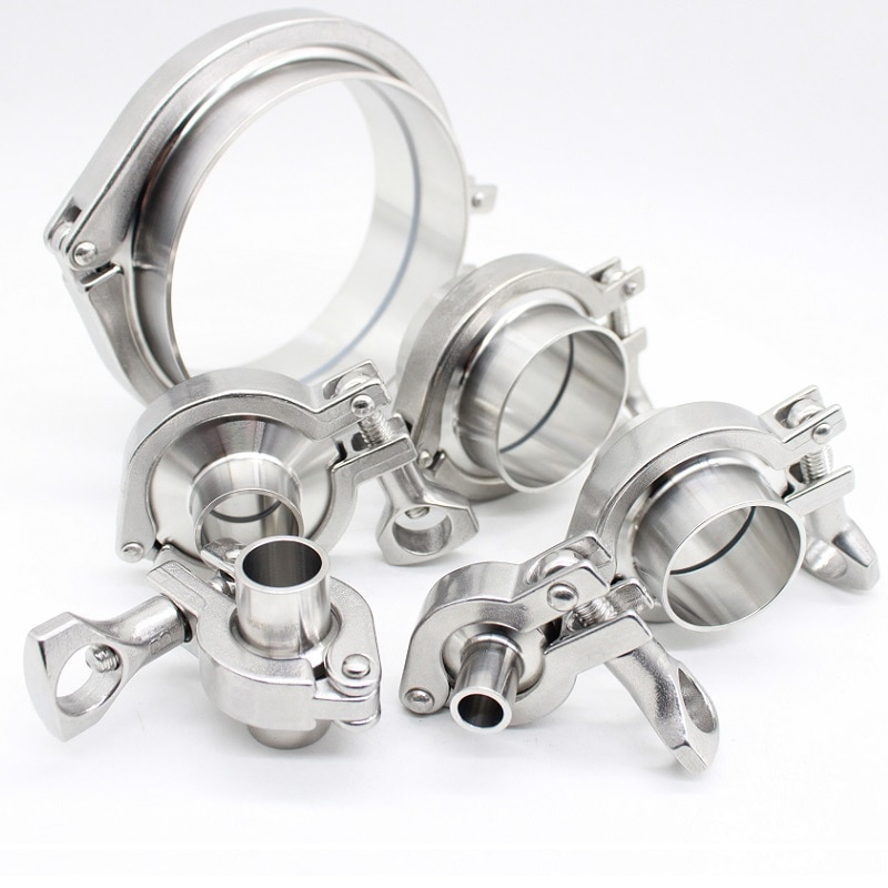 "12.7mm-108mm(3/4""-4.25"")Sanitary  Weld Ferrule + Tri Clamp + Silicon Gasket Union Set SS304 Stainless Steel For Homebrew a set 38 51 63 76 89 102 pipe o d sanitary tri clamp weld ferrule tri clamp silicon gasket 304 stainless steel for homebrew"