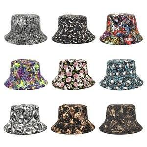 European and American New Printed Fisherman Hats Women's Hats Spring and Summer Outdoor Sun-proof Sun Visor Men's Basin Hats
