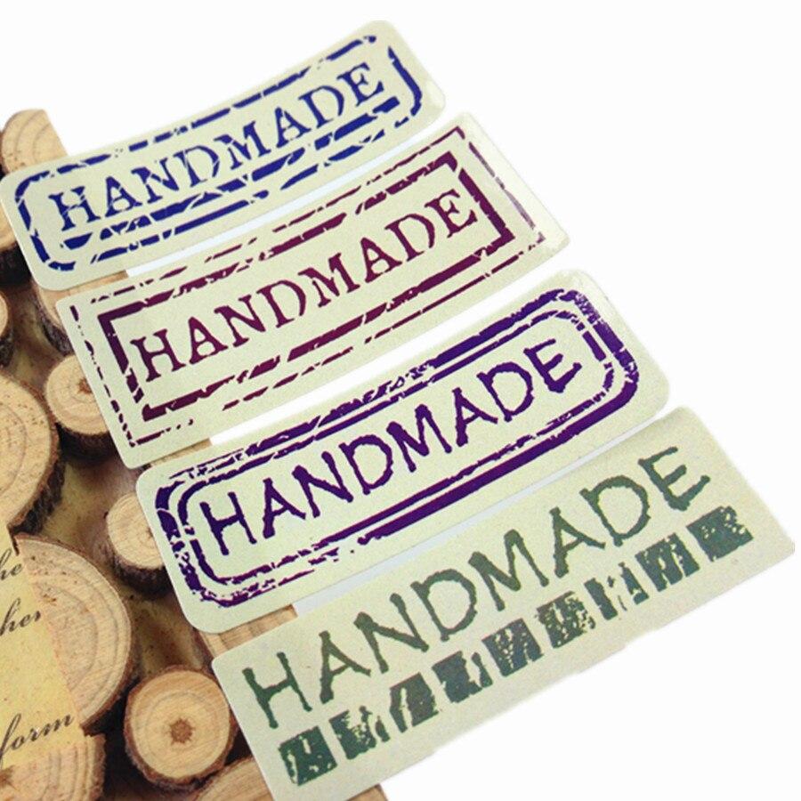 80 unids/lote Uppercase hecho a mano sello adhesivo Vintage hecho a mano etiqueta para paquete de regalo
