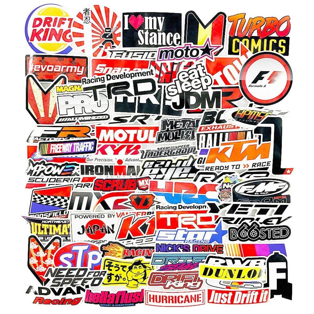 Pegatinas para coches de carreras, 100 Uds., estilo de coche JDM, pegatina impermeable para DIY, casco de carreras Motocross, Skateboard, bicicleta, portátil, equipaje