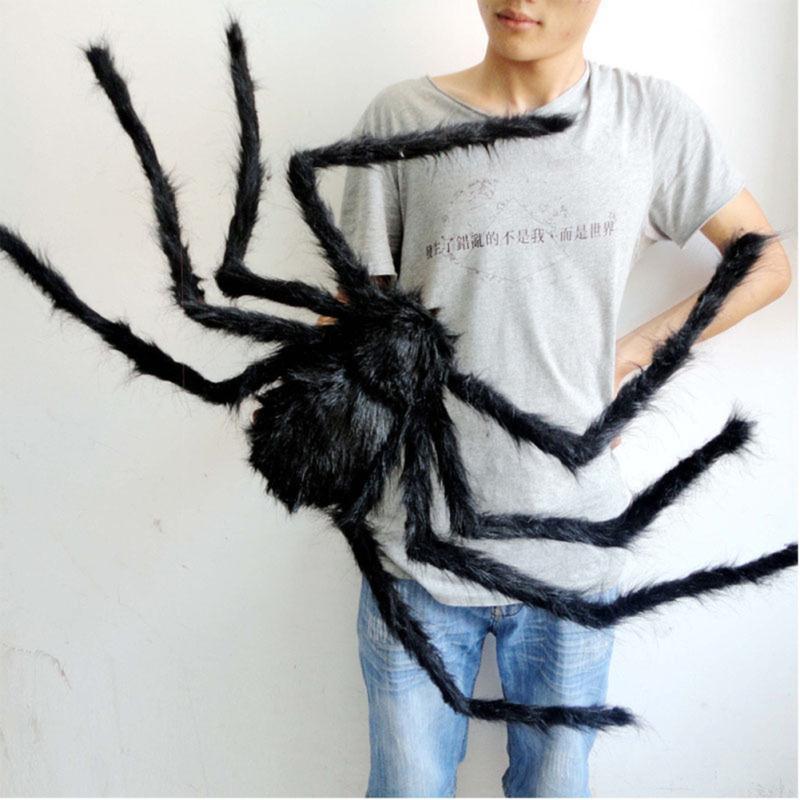 Aranha gigante peludo decorações reallike adereços halloween casa assombrada casa teia de aranha