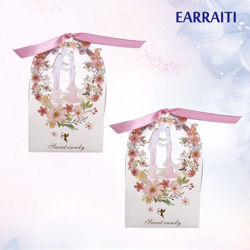 300 pcs Candy Box Wedding Gift Packaging Flower Bride Groom Favor Party Gift Sweet Chocolate Thank You Box For Guest Ribbon