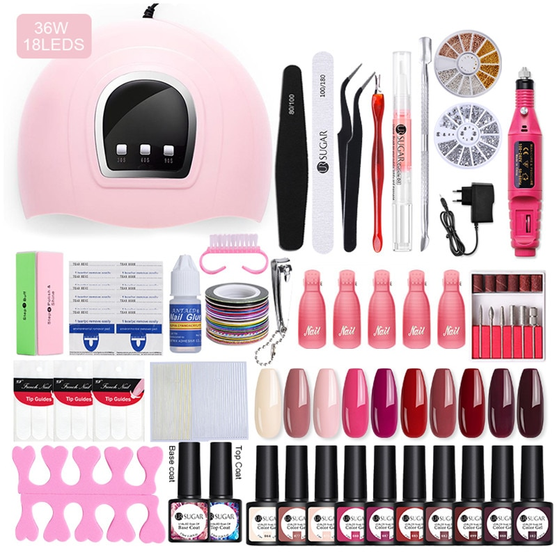 UR SUGAR Professional Manicures Set Acrylic Nail Kit LED Nail Lamp Nail Gel Polish Soak Off Nail Art Tools Electric Nail Files