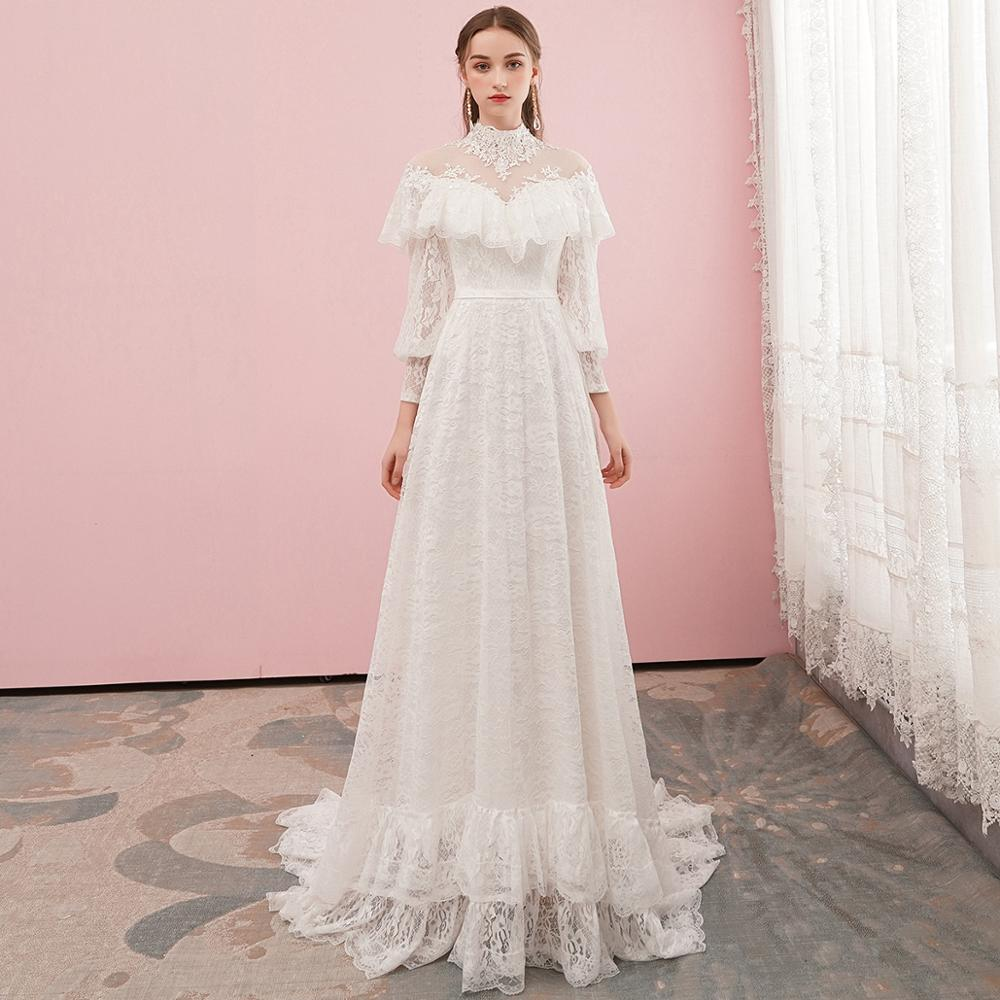 Get Victorian Lace Long Sleeve Bridal Gown with Train High Neck Vintage Glamour Wedding Dress Custom Made Real Photos 2020 New #3007