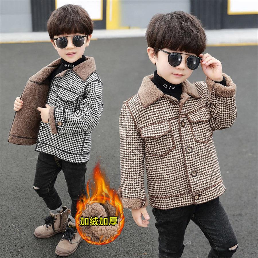 2020 высокое качество, дети, пальто Шерстяное пальто для мальчиков; Модная осенне-зимняя куртка для мальчика в клетку, теплое детское зимнее пальто От 2 до 10 лет-3