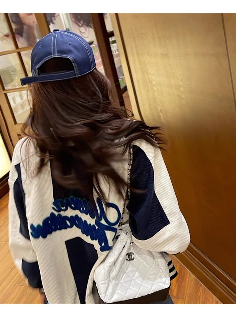Corduroy Jacket Women's New Casual Loose American Baseball Jacket In Spring And Autumn 2021