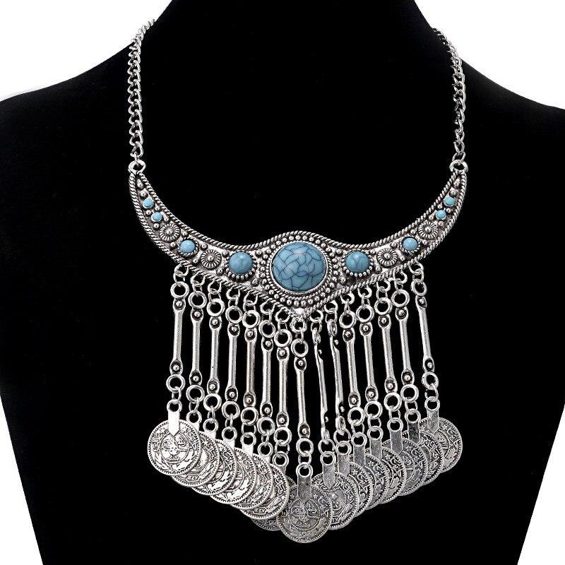 Lovbeafas moda moeda borla boêmio colar maxi vintage gargantilha colar colares & pingentes jóias turcas