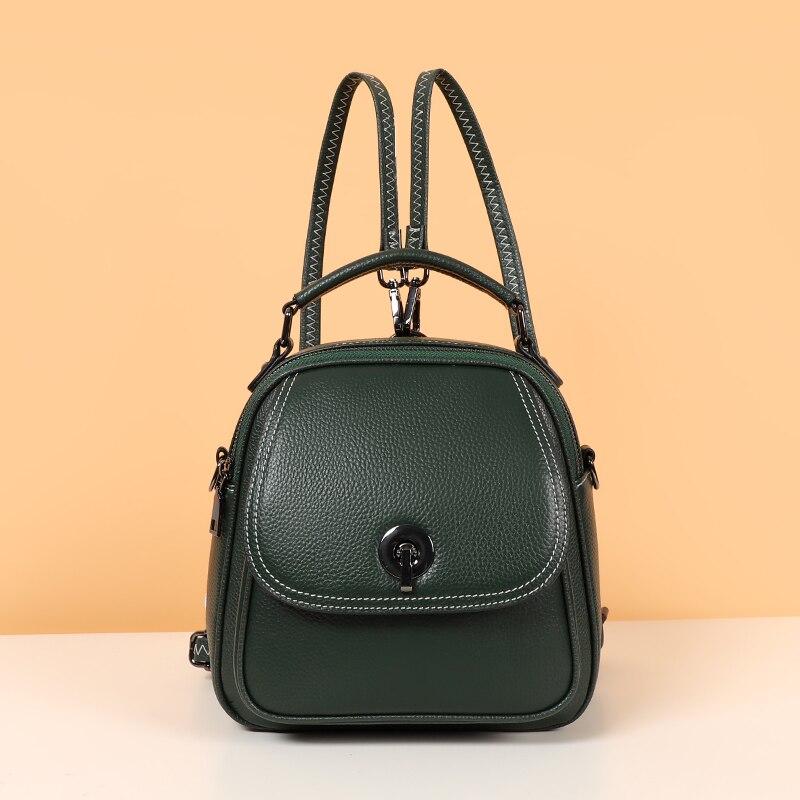 حقيبة ظهر من الجلد الطبيعي متعددة الوظائف للنساء ، حقيبة كتف ذات علامة تجارية ، حقيبة سفر صغيرة للبنات