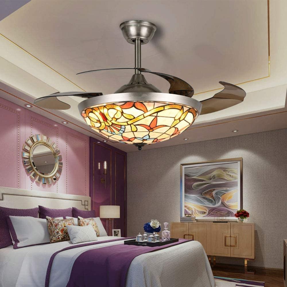 Ventilador de techo Tiffany Retro de 42 pulgadas, ventilador de araña Invisible de Control remoto con cuchillas retráctiles, ventilador LED de 3 colores que cambia