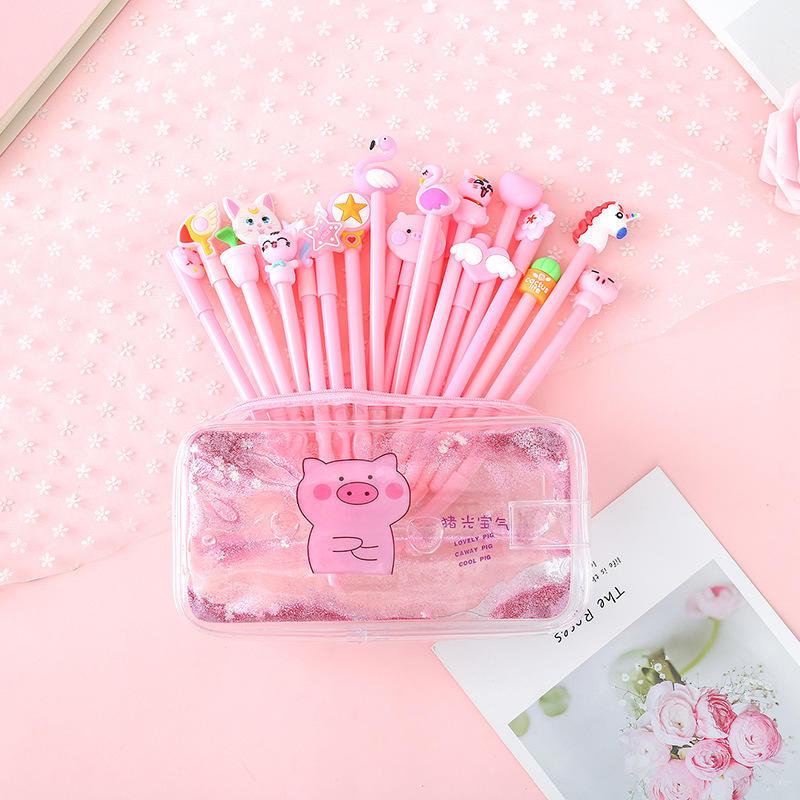 Lindo estuche de lápices de cerdo de PVC colorido transparente de arena movediza para chica bolsa creativa de papelería coreana bolsa de suministros escolares