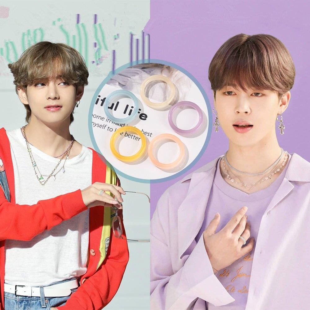Kpop bangtan meninos v kim tae hyung vante jimin parque ji min chimchim anel fresco colorido resina anéis fãs gifls menina homem anel novo