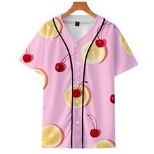 Été mince cardigan baseball uniforme fruits entourant tendance personnalité décontracté 3D mince manches courtes baseball uniforme
