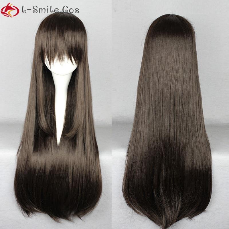 Mahou Shoujo Site Asagiri Aya 80cm Long Black Straight Heat Resistant Synthetic Wigs + Wig Cap