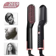 3 in 1 Hair Straightener Brush Anti Static Ceramic Heating Detangling Faster Straightening Beard Comb For Man Beard Straightener