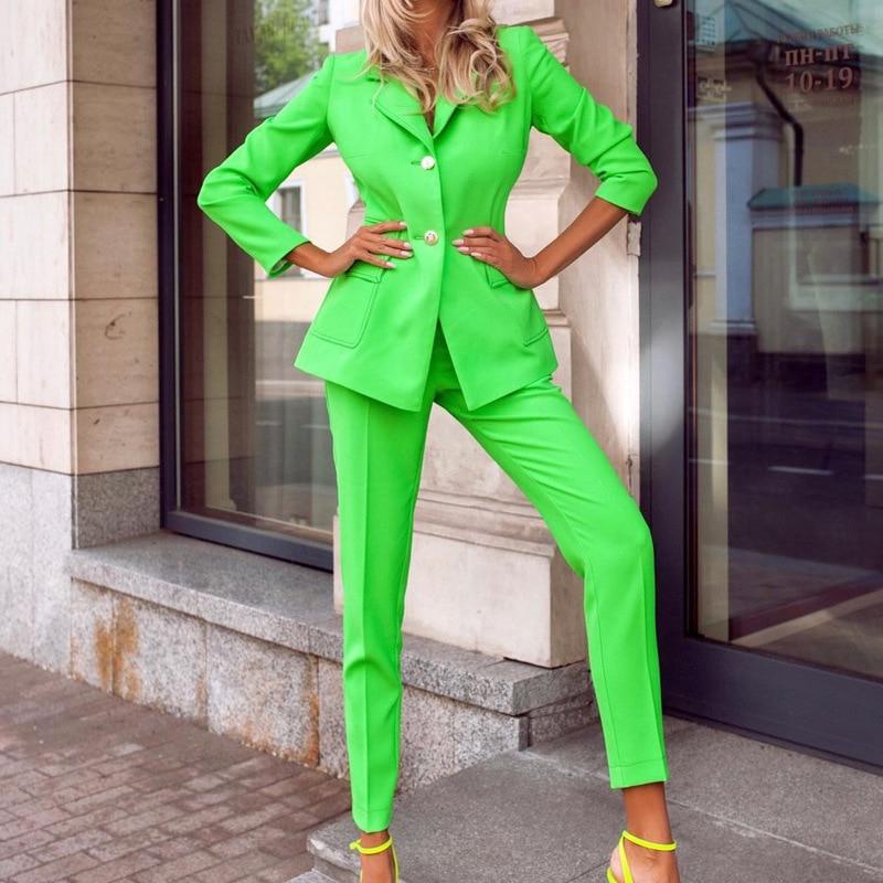 الأخضر واحدة الصدر Vintage السترة المرأة سترة 2 قطعة مجموعات مستقيم بانت الدعاوى أنيقة مكتب معطف للسيدات الخريف شارع العليا