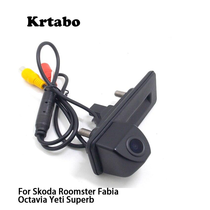 Para Skoda Roomster Fabia Octavia Yeti Superb, cámara de respaldo inverso para estacionamiento de coches, para asa de maletero, alta calidad, Full HD ccd