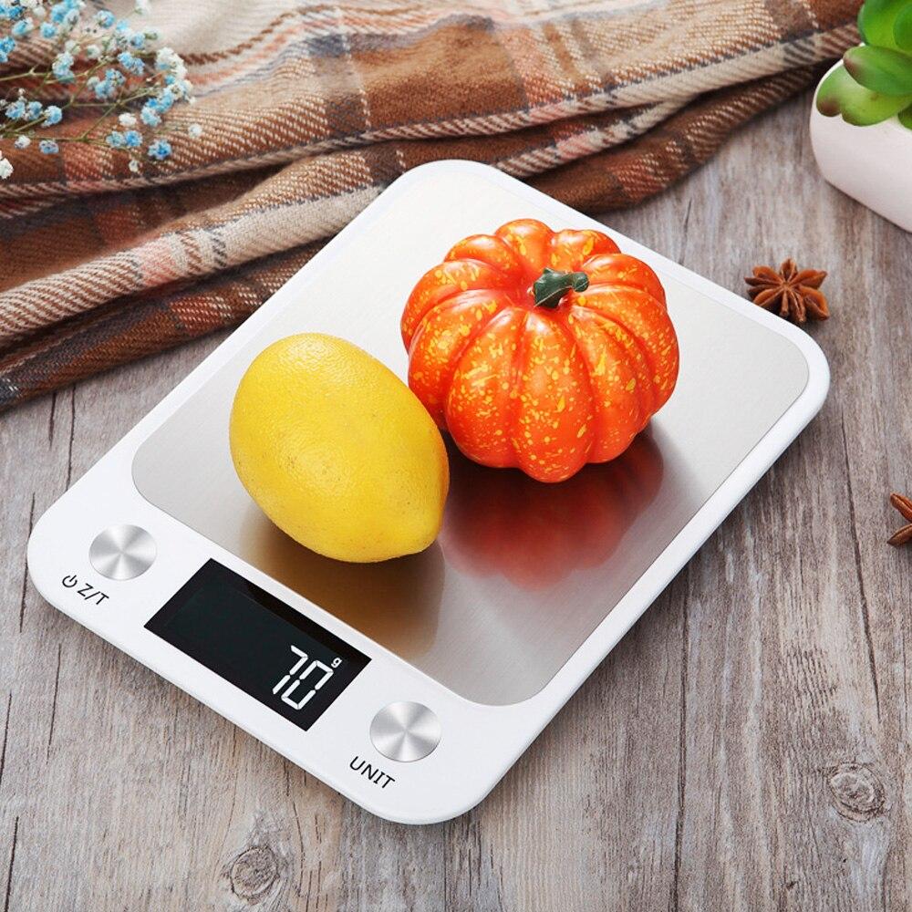 Báscula Digital de cocina para alimentos pantalla LCD 5/10kg 1g balanza multifunción de acero inoxidable Balanza de alimentos herramientas de cocina equilibrio