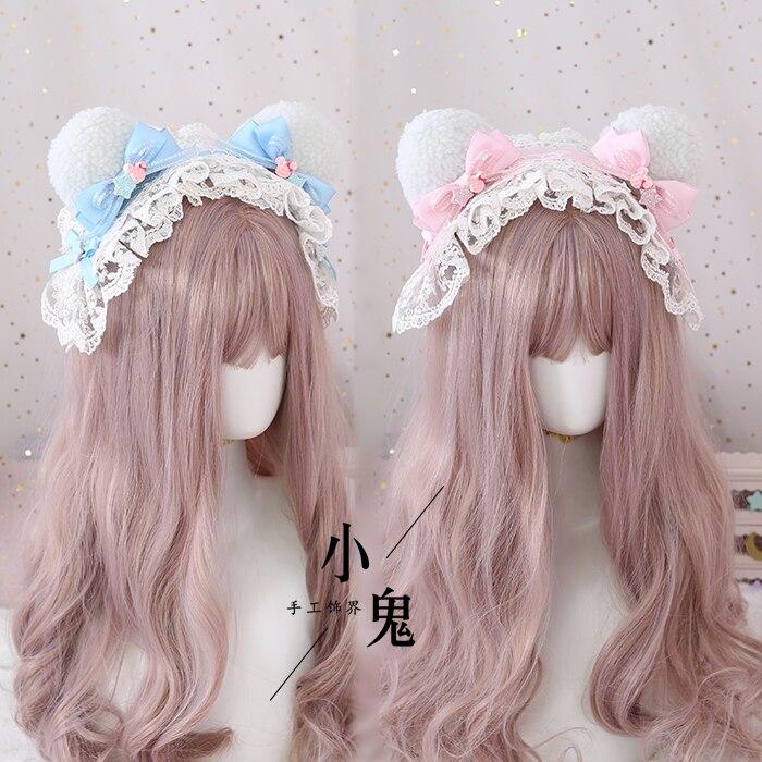 Diadema de saxofón rosa y azul hecha a mano para niña dulce Lolita encantadora felpa orejas de oso banda para la cabeza princesa Kawaii Diadema con lazo de encaje