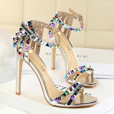 2020 Hollowed-out Color Rivet Women Sandals Summer Peep Toe High Heel 11CM Roman Style Stilettos Female  Wedding Dress Shoes