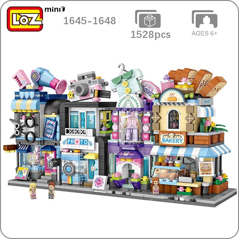 LOZ City Street Bakery Hair Salon Photo Studio Couture Clothing Bread Shop Store 3D Model Mini Blocks Small Building Toy no Box