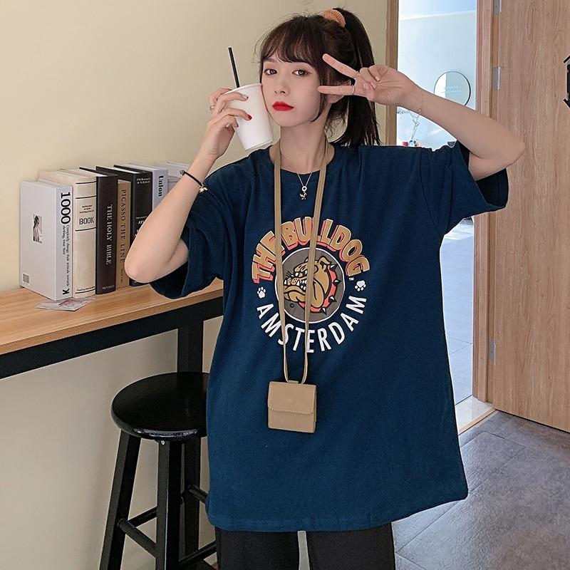 Vintage Hong Kong Short Sleeve T-shirt Women's Loose Korean Ins Trendy Harajuku Style Retro Chic Wei