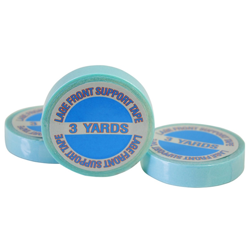 1 Pza/lote fuerte Cinta de soporte frontal de encaje 3 yardas 10mm cinta adhesiva para cinta extensiones de cabello pelucas de encaje Real USA cinta azul