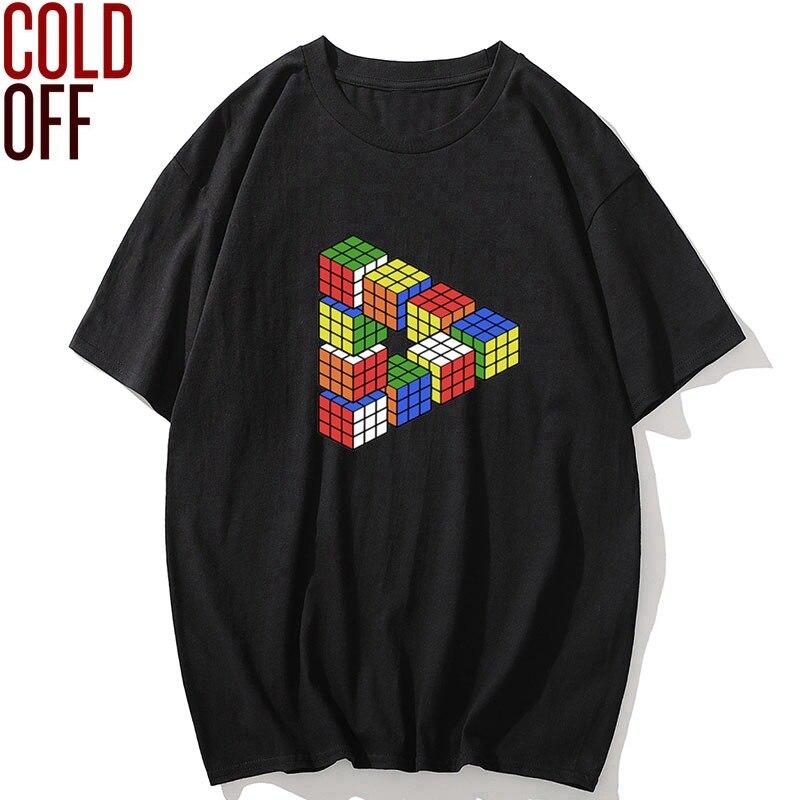 COLD OFF verano 100% de algodón cool magic cube camisetas de hombres impresas de manga corta streetwear hombres camiseta o-cuello camiseta hombres camisetas