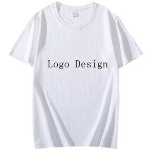 Cotton Men Women T-shirt Logo Customized Short Sleeve Male Tee Solid Color Men Crew Neck T Shirt Male Female  Tops