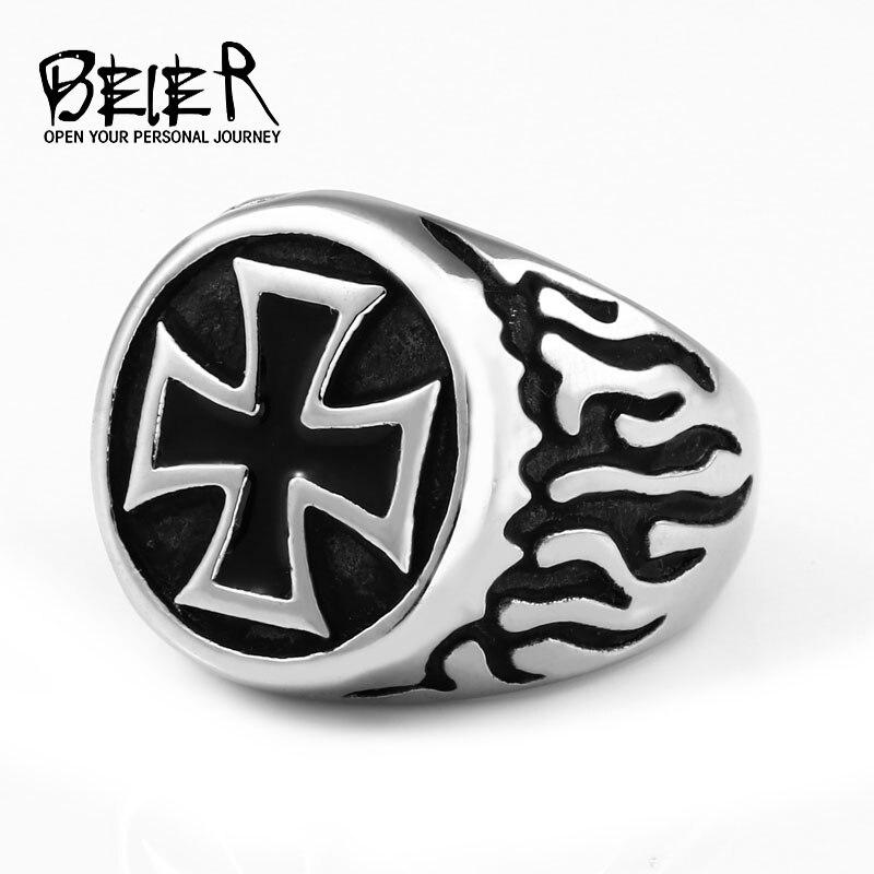 BEIER de acero inoxidable de moda anillo de Cruz vintage para hombre joyería de oficina para hombre Envío Directo BR8-383
