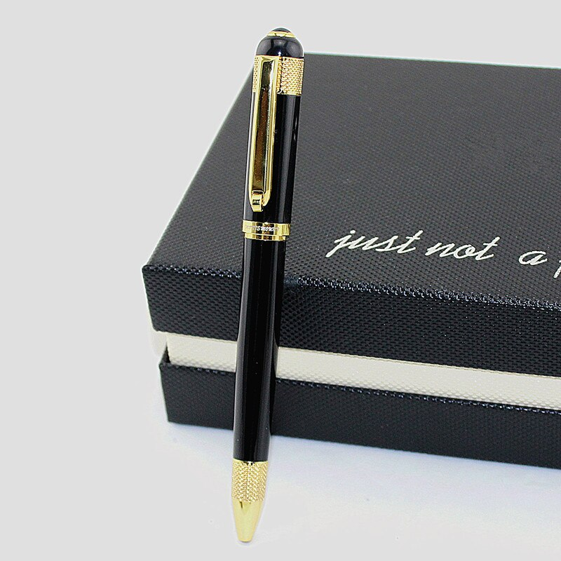 Caneta esferográfica do metal do grampo do ouro preto de luxo canetas de bola para a escola vulpen artigos de papelaria plume penna stilografica vulpen boligrafo
