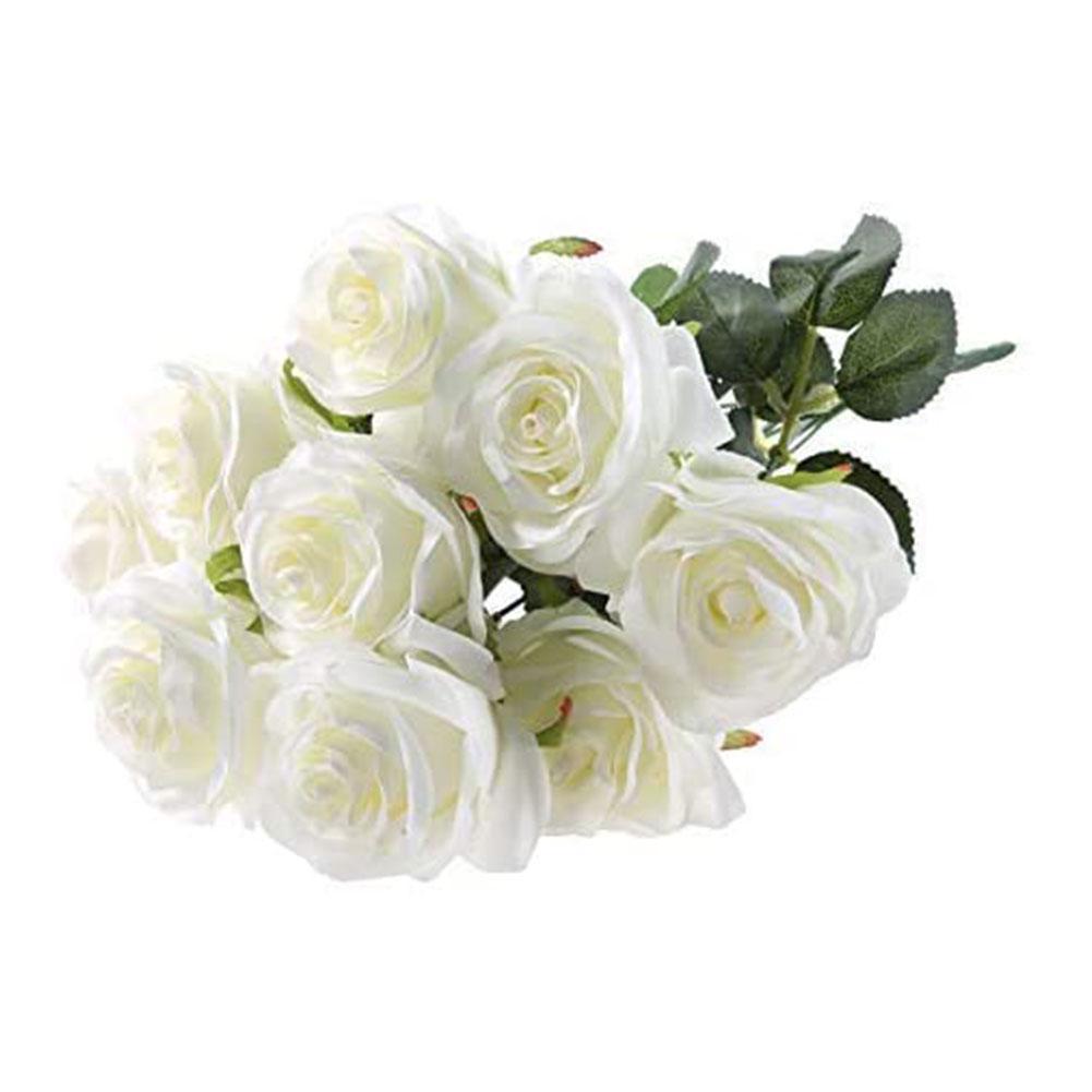 10 Head Open Rose Bouquet Large Fake Silk Artificial Home Decor Weddings Festivals Party Office Gardens Parties Flo V6Q8