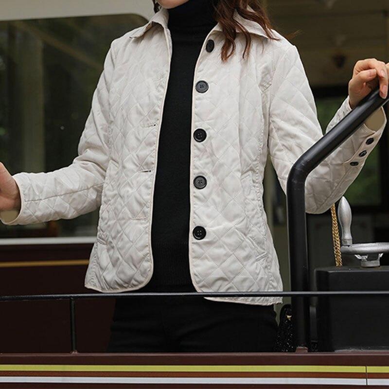 Plus size 5xl xadrez acolchoado outono parkas feminino fino turn down collar manga comprida casaco jaqueta feminina 2019 inverno moda parka