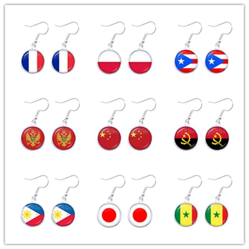 Pendientes colgantes de bandera nacional para mujer, joyería de Francia, Polonia, Puerto...