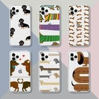 dachshund doberman dog phone case transparent for iphone 12 11 pro mini xs xr x max 5 6 s 7 8 plus soft tpu clear mobile bags