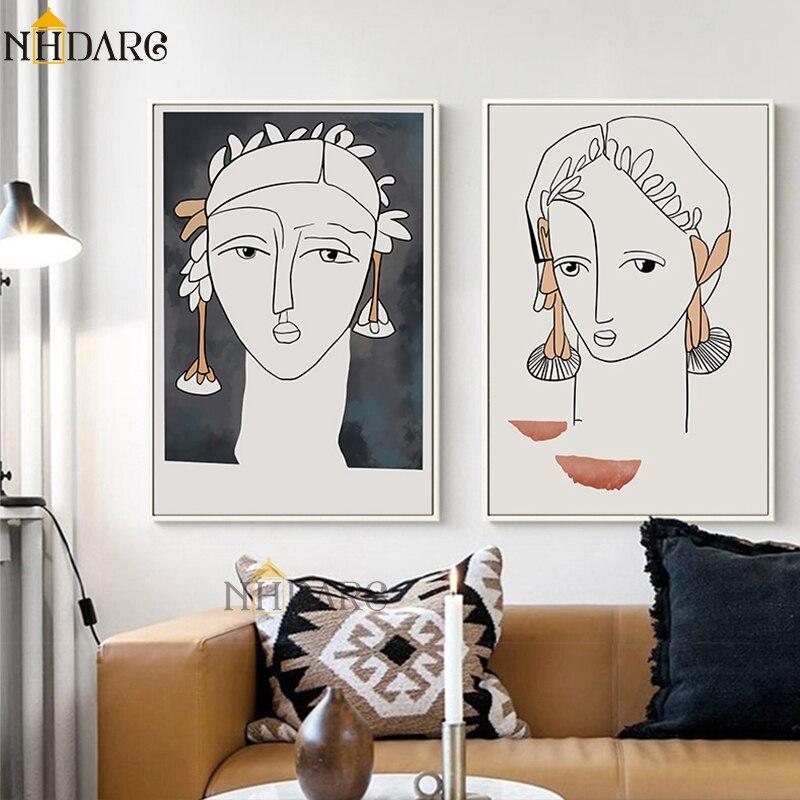 Nórdico minimalista línea chica pared arte lienzo cartel impresión moda Vintage imagen de pintura abstracta para la decoración del hogar de la sala de estar