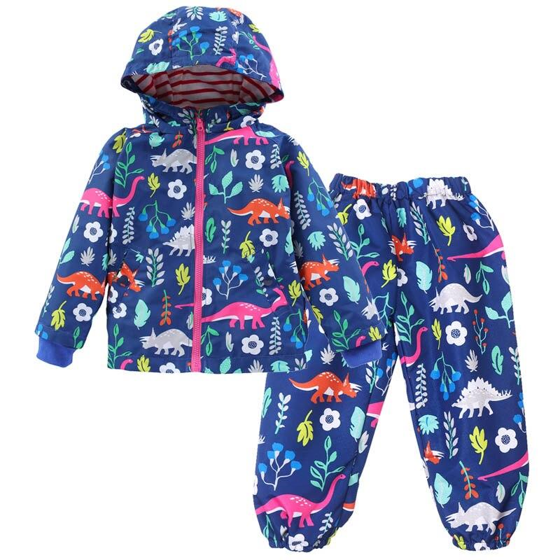 Ropa de niños abrigo de otoño para niñas conjuntos de ropa deportiva niñas chaquetas + Pantalones impermeables cortavientos conjuntos niños prendas de vestir exteriores