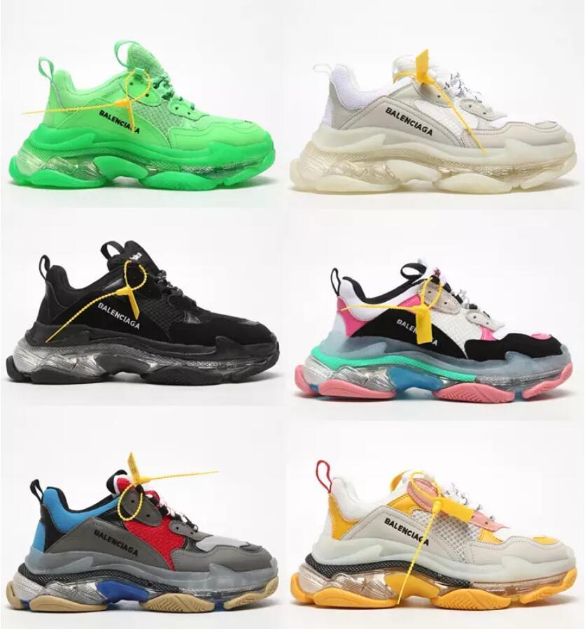 2021 New Original Triple S 3 Clear Sole Black Shoes Balanciaga Women Dad Clear Sole White Trainers Fashion Neon Green Unisex