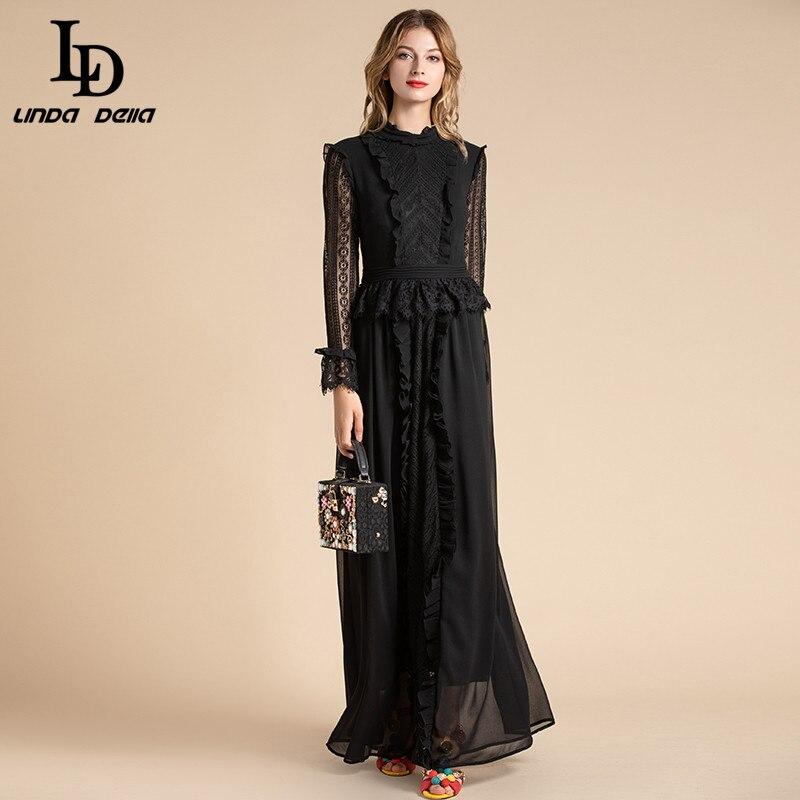 LD LINDA dela moda de diseñador negro sólido vestidos de mujer de malla de encaje manga volantes con Bordados florales Maxi vestido largo para fiesta